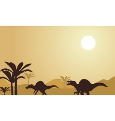 Silhouette of spinosaurus at noon vector image