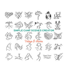 Simple mountains valleys and rivers icons vector