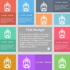 skyscraper icon sign Set of multicolored buttons vector image