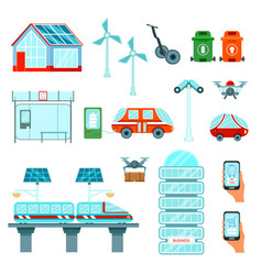 smart city flat icons set vector image