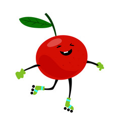 Sport chery on rollers character funny fruit food vector