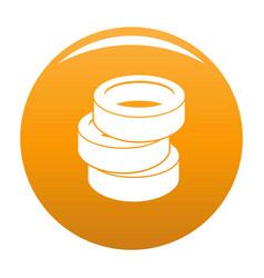 Stack of tire icon orange vector