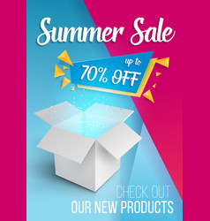 summer sale banner open box vector image vector image