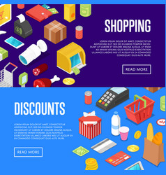 Supermarket shopping isometric posters set vector