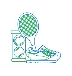 Tennis balls sneakers racquet icon imag vector