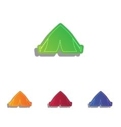 Tourist tent sign Colorfull applique icons set vector image