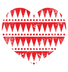 Valentines Day card - Aztec tribal red heart vector image