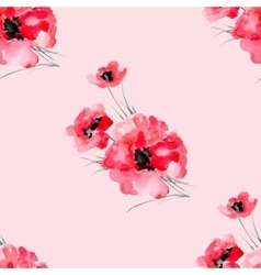Watercolor flowers red poppy seamless pattern vector