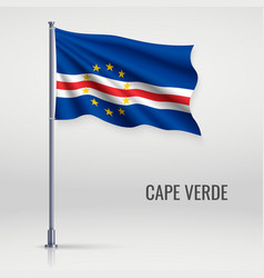 Waving flag on flagpole vector