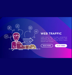 Web analyst monitors web traffic speed vector