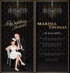 Wedding card invitation in black luxury theme vector image