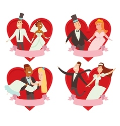 Wedding couples cartoon style vector image