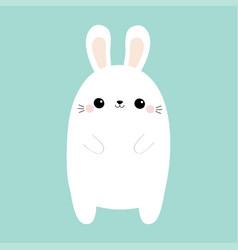 white rabbit bunny cute kawaii cartoon character vector image