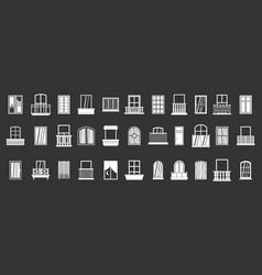 window icon set grey vector image