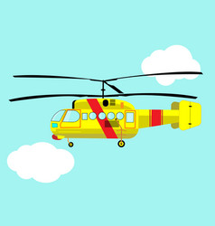 Yellow helicopter flying in the sky vector