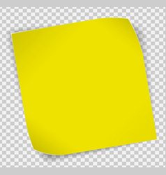 Yellow paper sticker over transparent background vector image