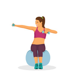 young woman doing exercise using dumbbell and vector image
