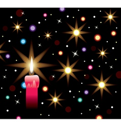 burning candle with lights vector image vector image