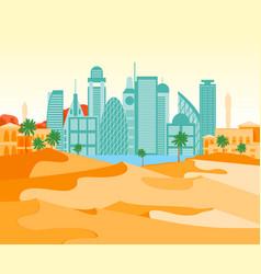 cartoon arab city on a landscape background vector image
