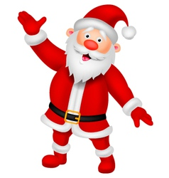 Happy Santa cartoon waving hand vector image vector image