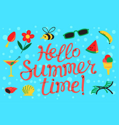 Hello summer lettering beach banner with summer vector