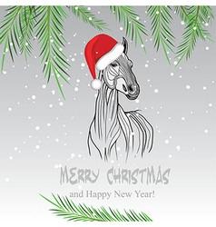 Horse merry Christmas card vector image
