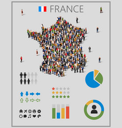 large group of people in form of france map with vector image