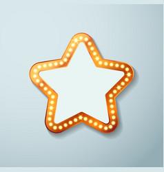 Retro cinema bulb sign star shape vector image vector image