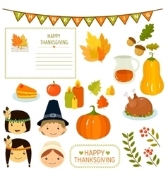 Thanksgiving Elements in Flat Style vector image