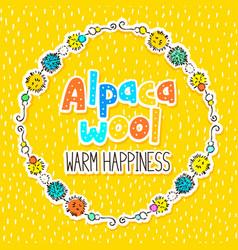alpaca wool label design vector image vector image