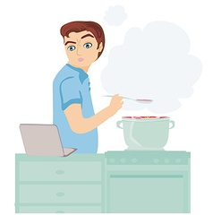 man looking in laptop during cooking soup at home vector image vector image