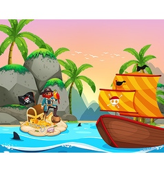 Ocean scene with pirate and treassure vector image vector image
