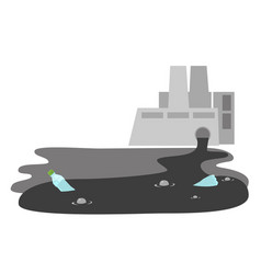 refinery plant with wastewater pipe cartoon vector image