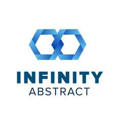 two hexagonal chain links logo beautiful infinity vector image vector image