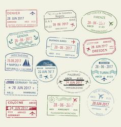 visa passport stamp symbol set for travel design vector image
