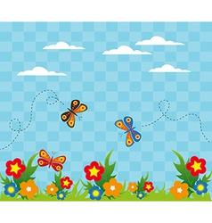 Cartoon garden landscape design vector image vector image