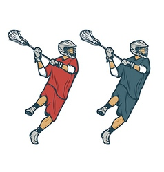Lacrosse player in shooting pose isolated vector image vector image