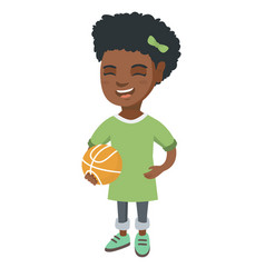 laughing schoolgirl holding a basketball ball vector image vector image