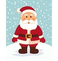 Santa standing in snowy day vector