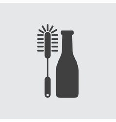 Bottle cleaning brush icon vector image