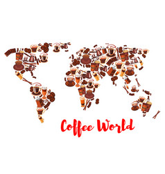 coffee world map symbol for drink and food design vector image