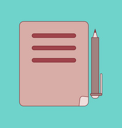 flat icon with thin lines notebook pen vector image