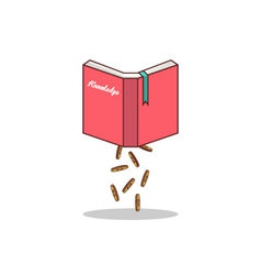 Isolated cartoon knowledge book to earn money vector image