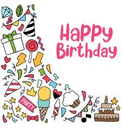 07-09-051 hand drawn party doodle happy birthday vector