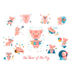 2019 year of the pig set vector image
