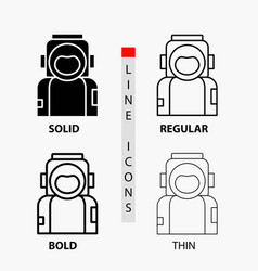 astronaut space spaceman helmet suit icon in thin vector image