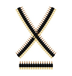 Bandolier with bullets Ammunition belt Tape vector
