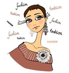 Beautiful fashion woman portrait vector image