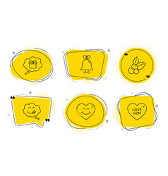 Bell gift dream and smile face icons set yummy vector