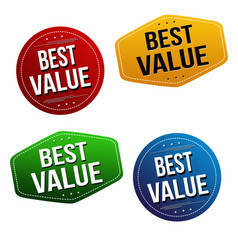 Best value sticker or label set vector